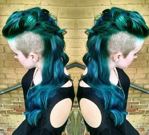 shaved sided dyed hair long Mohawk style @hrvahairartistry