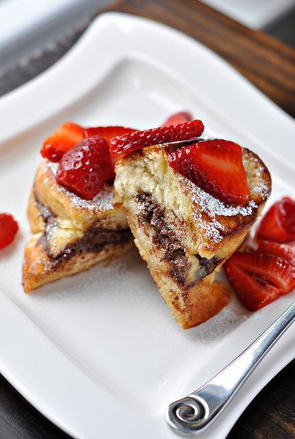 Stuffed Nutella French Toast w/ Strawberries