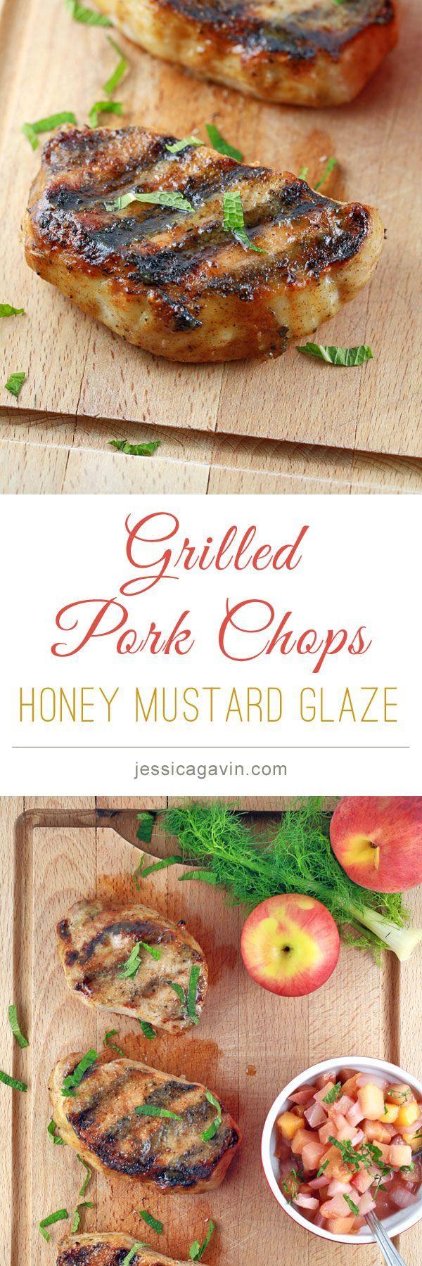 Super delicious Grilled Pork Chops recipe served with honey mustard glaze.