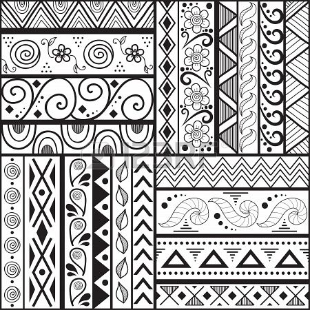 Tribal striped hand drawn seamless pattern  Geometric black-white background  Swatches of seamless pattern included in the file  Stock Photo...