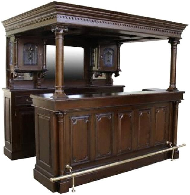 Solid Mahogany Cherry English Canopy Lion Pub Bar · Furniture Care Reproduction ...