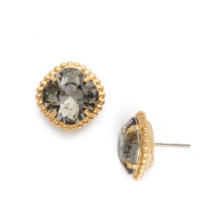 Sorrelli Cushion-Cut Solitaire Earring in Bright Gold-Tone Finish