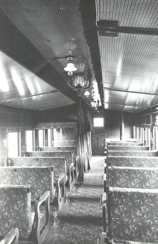 1864 Interior of Pullman's First Sleeping Car -- a converted coach -- note that there is not much sleeping space!  Paulette onto Railroad Crossing