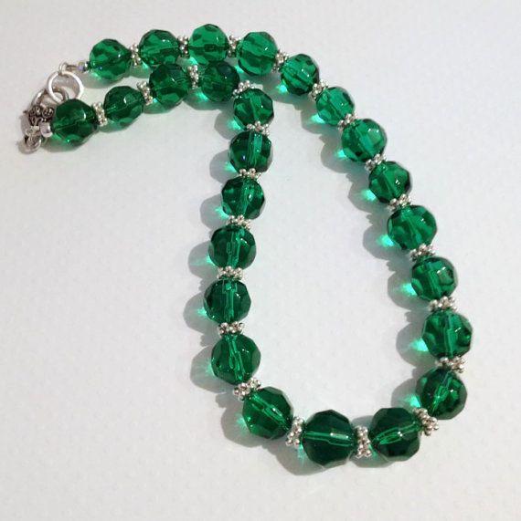 Emerald Green Chunky Beaded Necklace by JewelleryByJanine on Etsy, £20.00