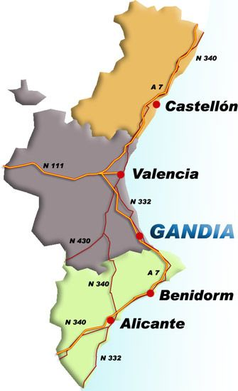 Map-gandia-valencia-areaGandia on Sea  The northern most town on the Costa Blanca or the southern most on the Costa del Azaha