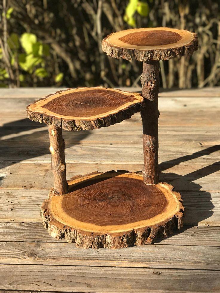 Jumbo 3 tiered elm wood rustic cake 35 cupcake stand