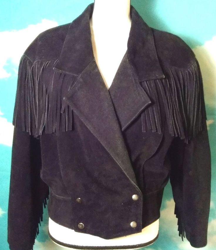 Black Fringe Suede Jacket Lightly Distressed Otello Pelle' Size Small Biker Wear #OtelloPelle #Motorcycle #OutdoorWear
