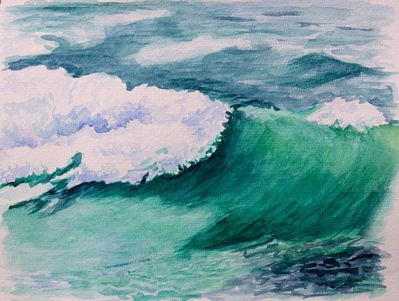 Aquarell Strand Wellen Meer Aquarell Wasserfarben