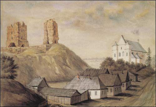 . Nowogródek (Białoruś). Ruiny zamku i fara. Rys. 1876