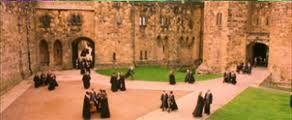 Hogwarts students in Alnwick Castle's Inner Bailey