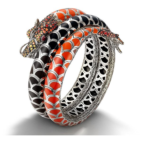 John Hardy Naga Lava Autumn Color Way Enamel Double Coil Bracelet ($4,400) ❤ liked on Polyvore featuring jewelry, bracelets, bracelet bangle, african bangles, african bracelet, heart jewelry and coil bracelet