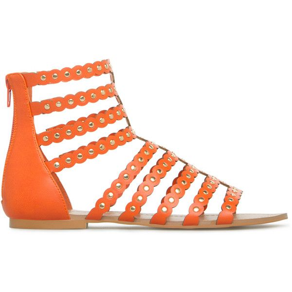 ShoeDazzle Flat Sandals Tricia Womens Orange ❤ liked on Polyvore featuring shoes, sandals, flat sandals, orange, summer flat sandals, studded flat sandals, studded sandals, caged sandals and orange flat sandals