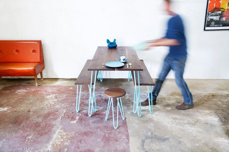 Dining Set, In Walnut, Hairpin Legs, Dining set with bench, Mid-century Furniture, Handmade, Eames, by CordIndustries on Etsy https://www.etsy.com/listing/253990937/dining-set-in-walnut-hairpin-legs-dining
