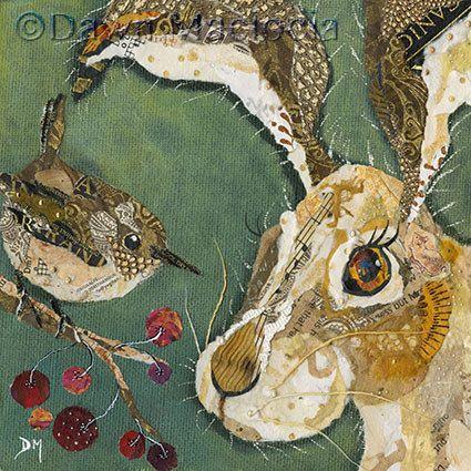Hare and Wren Collage  (SOLD) www.dawnmaciocia.com https://www.facebook.com/collagecreations