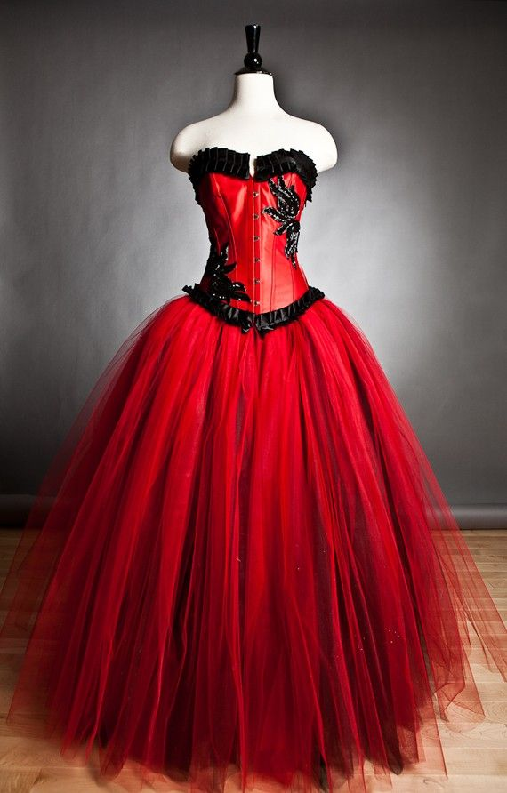 Custom size red and black burlesque corset ball gown s xl for Red and black wedding dresses