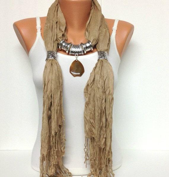 caramel jewelry scarf