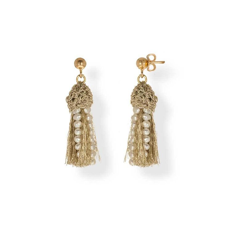 Gold Plated Crochet Tassel Earrings With Pearls | Anthos Jewellery - Anthos Crafts