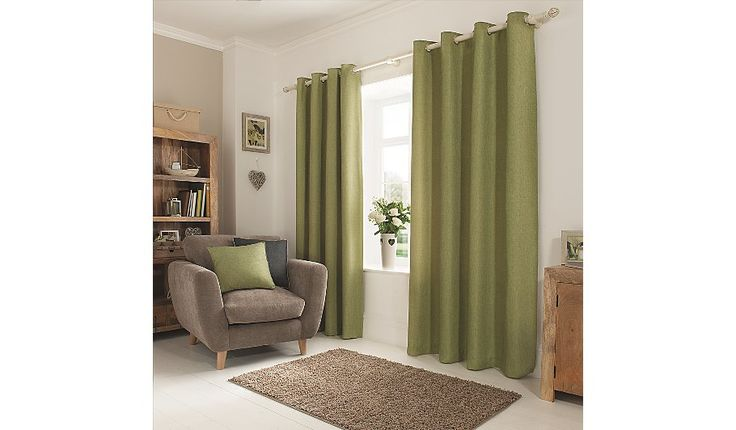Brighten up your home with these plain green textured weave curtains from George Home. These eyelet curtains easily fit to any curtain pole, and feature full...