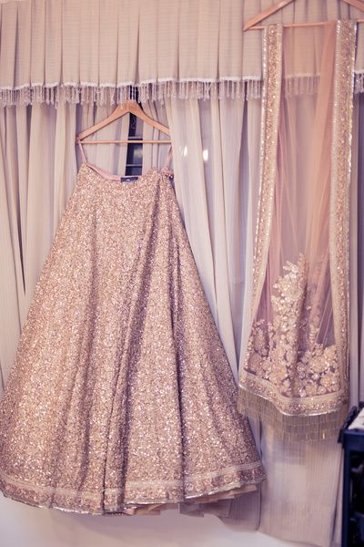 Light Lehengas - Sequinned Gold Lehenga with a Net Dupatta | WedMeGood #wedmegood #indianbride #indianwedding #sequinned #gold #dupatta