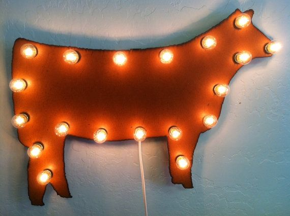 Rusted Recycled Metal Vintage Inspired HEIFER COW Lighted Marquee Sign