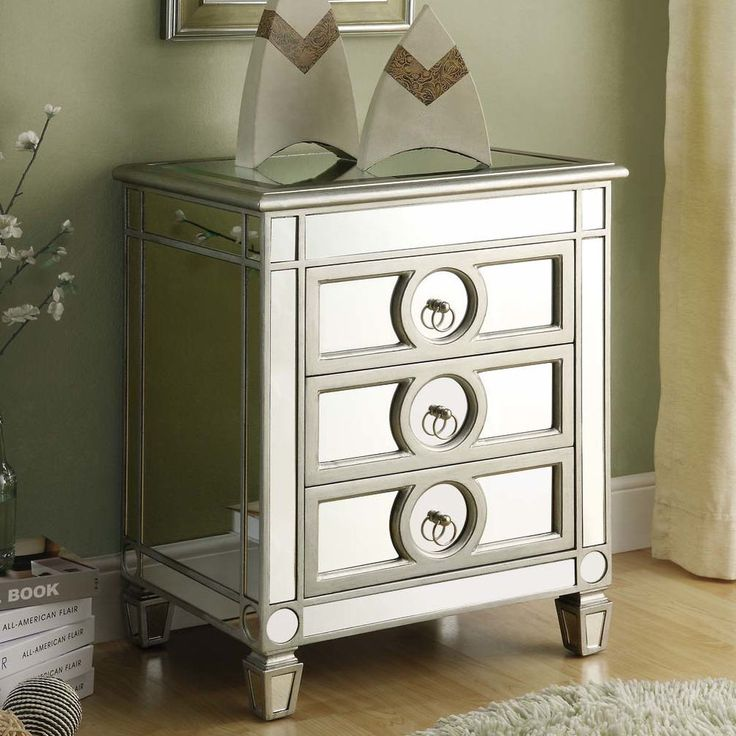 Low Chest Of Drawers Accent Cabinet Mirrored Nightstand 3 Drawer Dresser  Chest