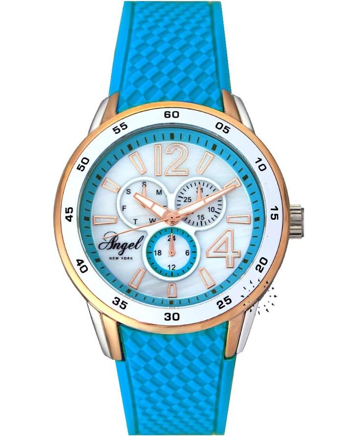 ANGEL New York Blue Rubber Strap  59€  Αγοράστε το εδώ: http://www.oroloi.gr/product_info.php?products_id=31026