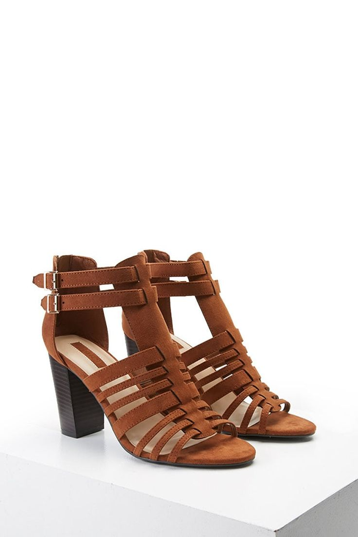 Faux Suede Caged Sandals
