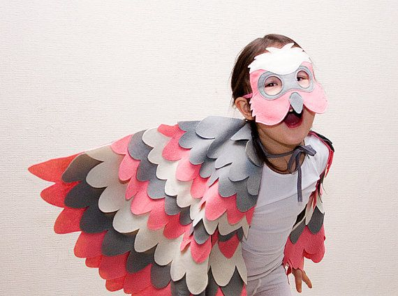 Childrens Bird Costume, Pink Galah Parrot Wings and Mask Set, Kids Dress up Toy, Girls and Toddlers, Australia Day auf Etsy, 63,00€