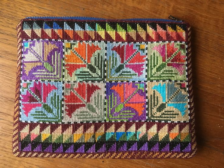 One of my cross-stitch embroidery purses, inspired by a turkish pattern with coronations.