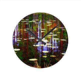 Fall pond round clock