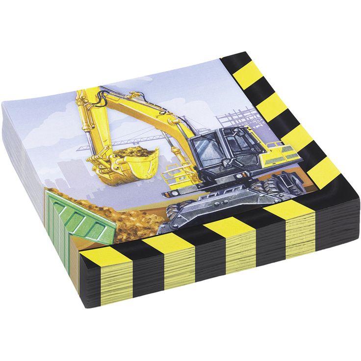 20 serviettes chantier de construction pour l'anniversaire de votre enfant - Annikids