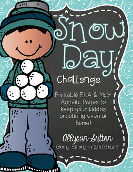 Have you checked the weather forecast and see there might be a snow day (or a few) in your future?  Worry that your kids are going to lose some of what they have learned while they are sledding down hills and sipping on hot chocolate?  Then, this no-prep set of printables are perfect to give your kiddos a Snow Day Challenge!This set is designed to meet 2nd Grade CCSS, but activities may also be suitable for high firsties and a review for 3rd graders.Over 50 pages of activities in both math…