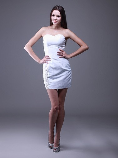 Strapless Sweetheart Little White Dress with Floral Beading