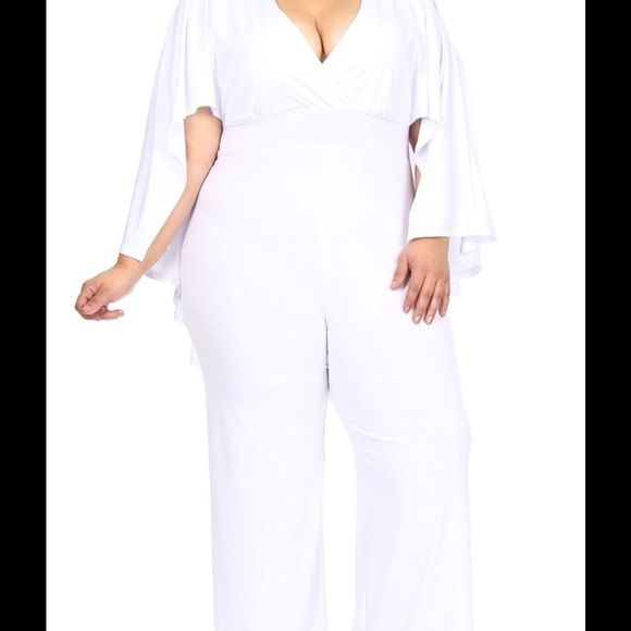 All white jumpsuit with cape Super cute all white jumpsuit with cape..perfect for an all white event Pants Jumpsuits & Rompers