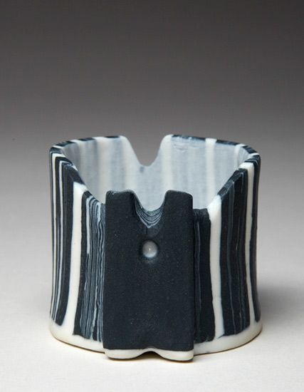 Ceramics by Maggie Barnes at Studiopottery.co.uk - 2012. Nerikomi Small Vessel 5 x 4.5 cms. photo by David Chalmers Photography