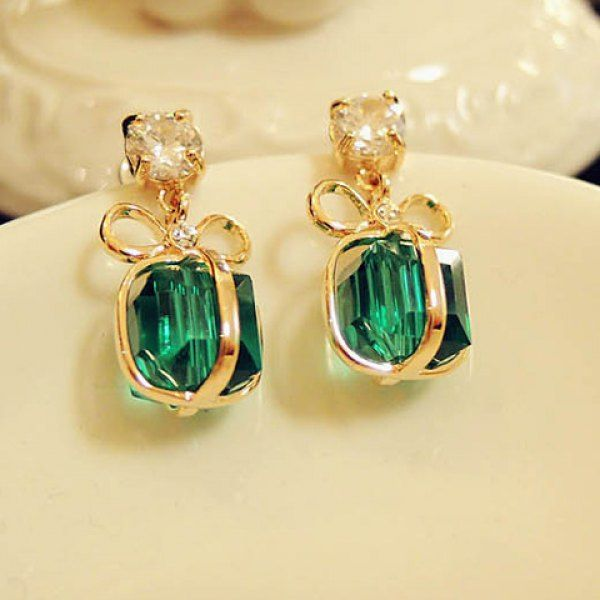 Pair of Stylish Rhinestone Bowknot Present Shape Pendant Earrings For Women, AS THE PICTURE in Earrings | DressLily.com
