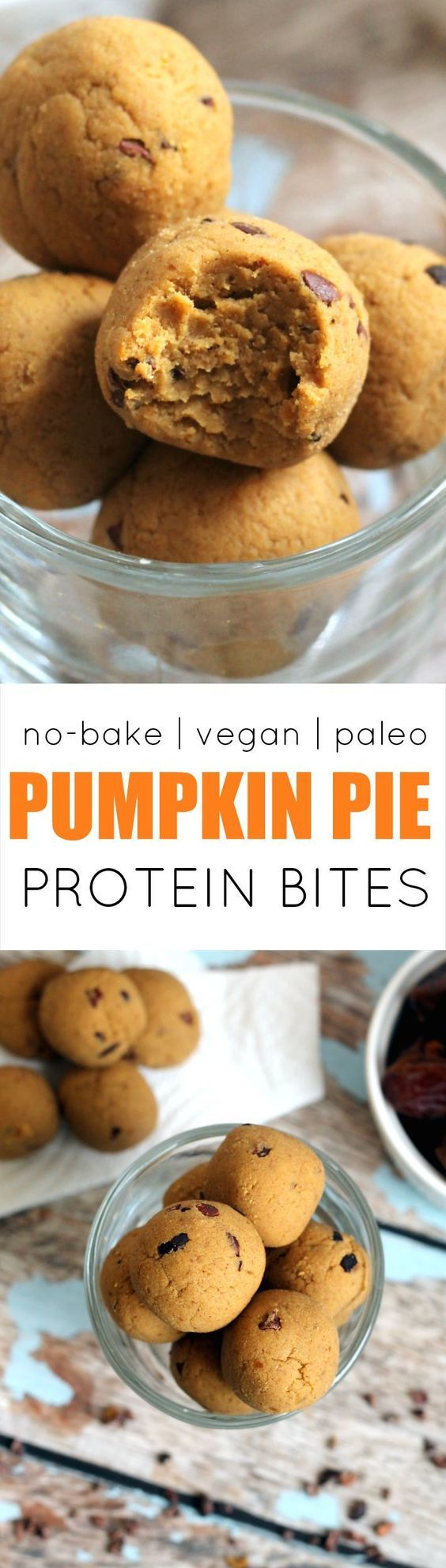 These easy cakey Pumpkin Pie Protein No-Bake Bites have the flavor of pumpkin pie but are secretly packed with protein and fiber! Vegan gluten-free paleo and kid-friendly.