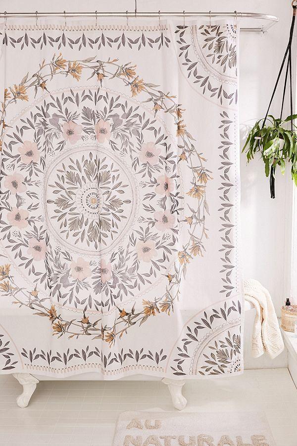Sketched Floral Medallion Shower Curtain Medallion Shower