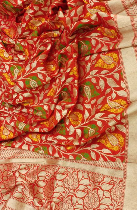 Red Handloom Banarasi Katan Silk Dupatta