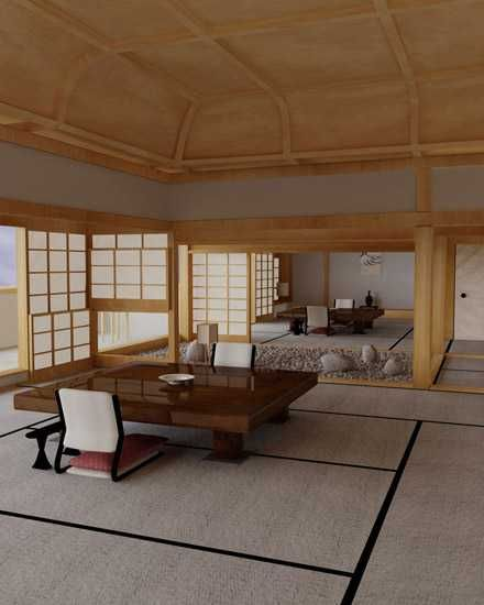 Traditional Japanese house interior. It's so open and in harmony with the…