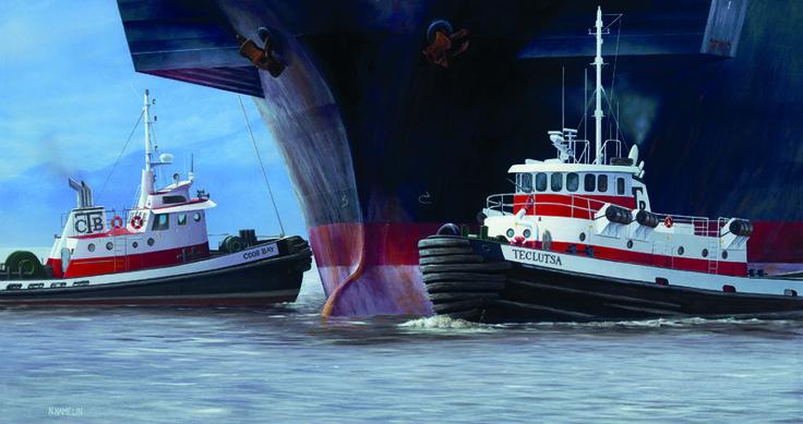 """Coos Bay Tugs"" by Neil Hamelin. #painting #art #artwork #realism #hyperrealism #seascape #ship #marineart #tugboats"
