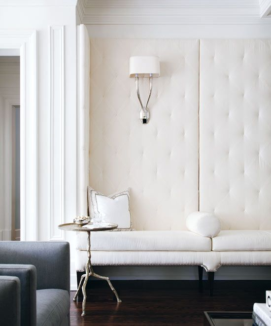Grey and Ivory tufted banquette
