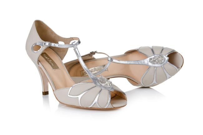 Rachel Simpson Mimosa with  silver leather trim (plus they're not white shoes!)