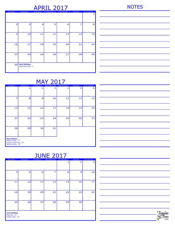 2017 3 Month Calendar - April, May and June