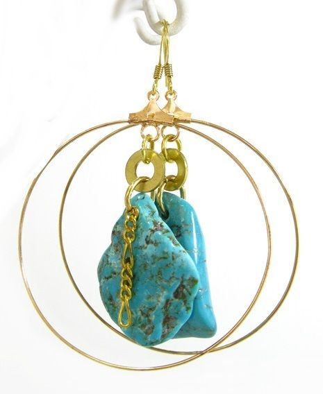 Turquoise and Gold Earring Hoop