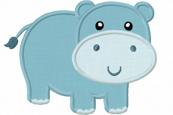 hippo applique | Instant Download Hippo Applique Machine Embroidery Design NO:1222