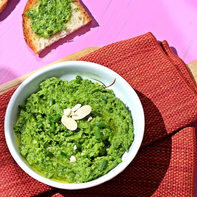 ... chive pesto made with two kinds of chives, almonds and olive oil