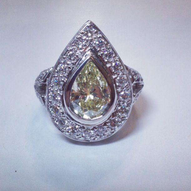 Fancy Yellow Pear Shape Diamond Ring! Hand made and beautiful