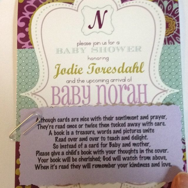 Bring A Book Instead Of A Card Baby Shower Poem: Like This Poem Better.