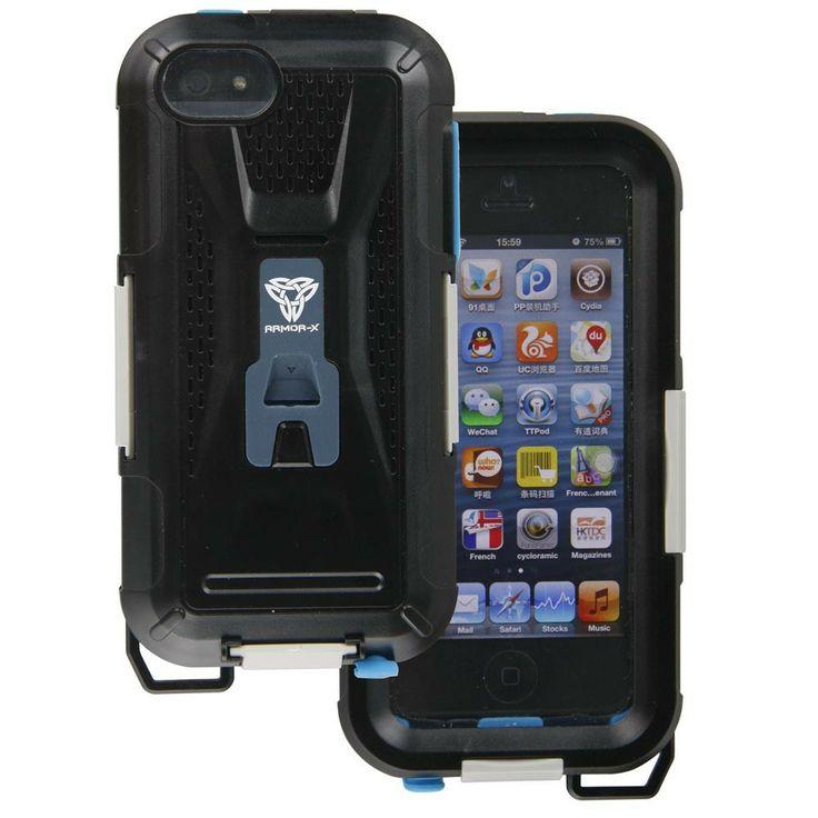 ArmorCase wasserdicht für iPhone 4/4s/5/5s/5c mit Montageset - Wasserdichtes Schutzgehäuse mit Fahrradhalterung für iPhone 4 / 4S / 5S / 5c. Ideal für alle Outdoor-Einsätze bei schlechtem Wetter oder Wassersport.  Jetzt neu:  Alle Anschlüsse und Bedienelemente im Case nutzbar  - Wetterfest gegen Regen und Spritzwasser - starker 3-fach Verschluss - 2 Schicht-Aufbau  (innen ...